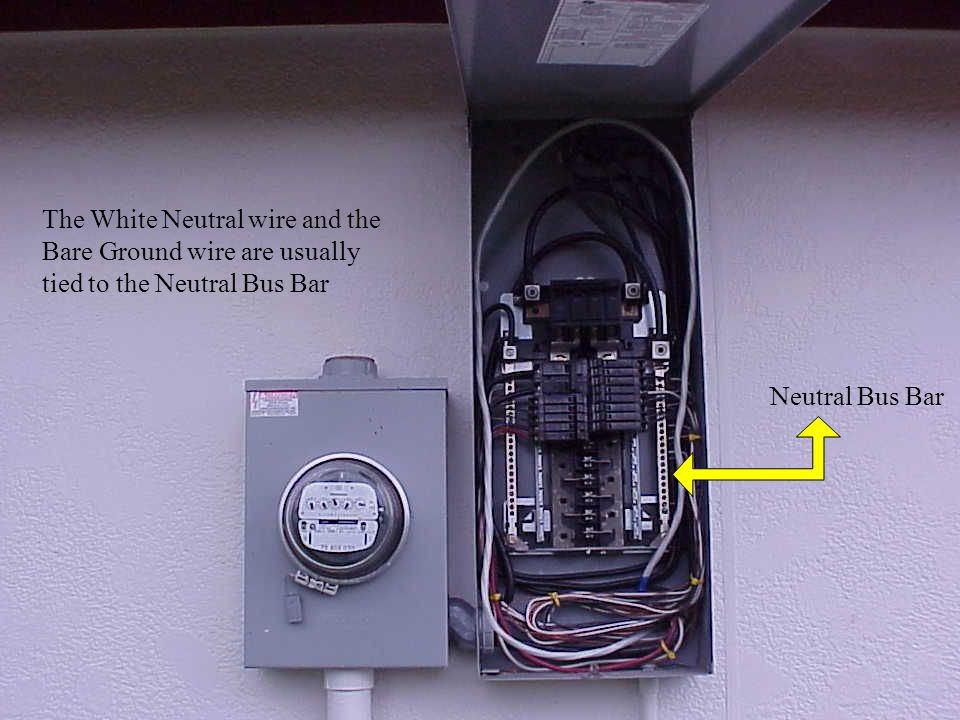 The White Neutral wire and the Bare Ground wire are usually tied to the Neutral Bus Bar