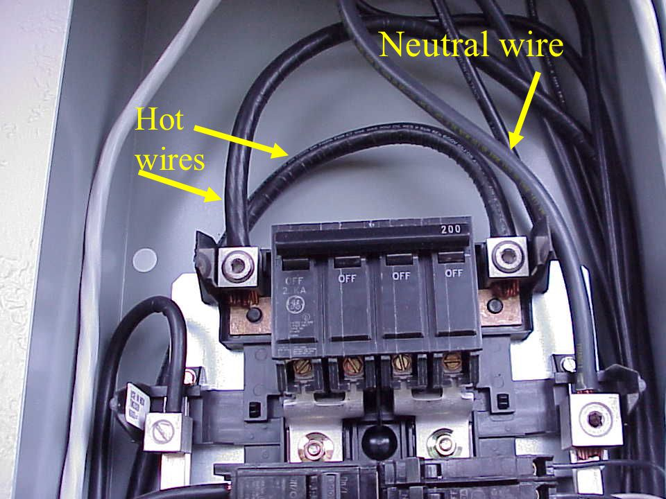 Neutral wire Hot wires