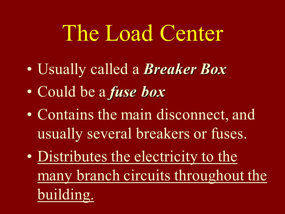 The Load Center Usually called a Breaker Box Could be a fuse box