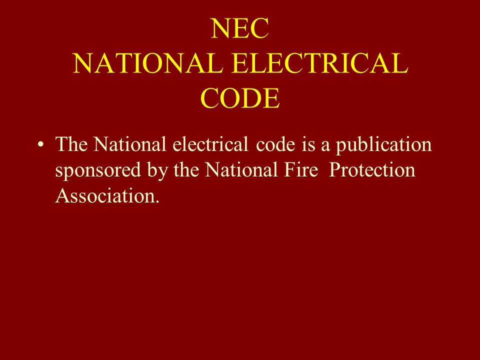 NEC NATIONAL ELECTRICAL CODE