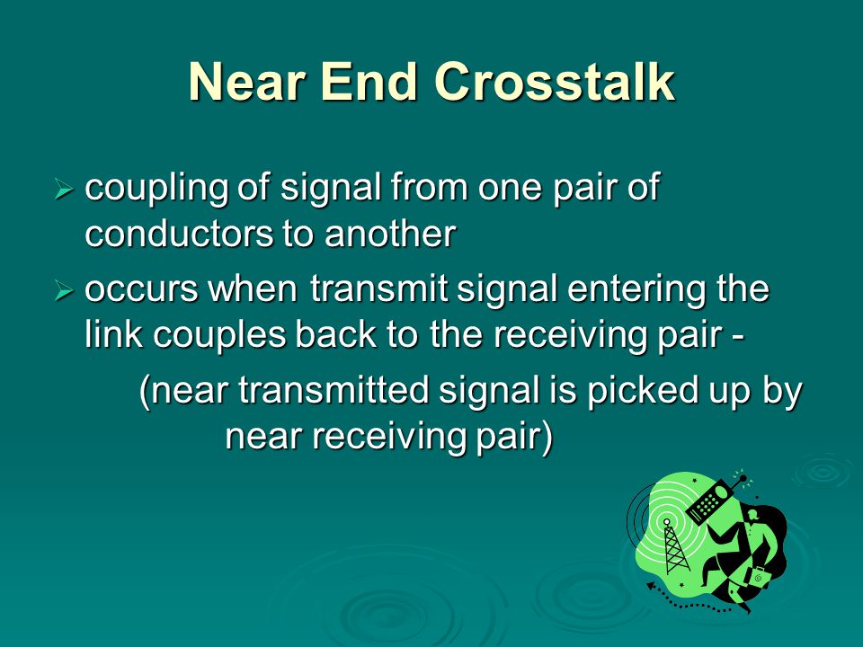 Near End Crosstalk coupling of signal from one pair of conductors to another.