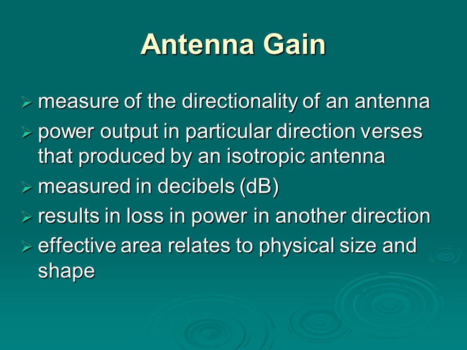 Antenna Gain measure of the directionality of an antenna