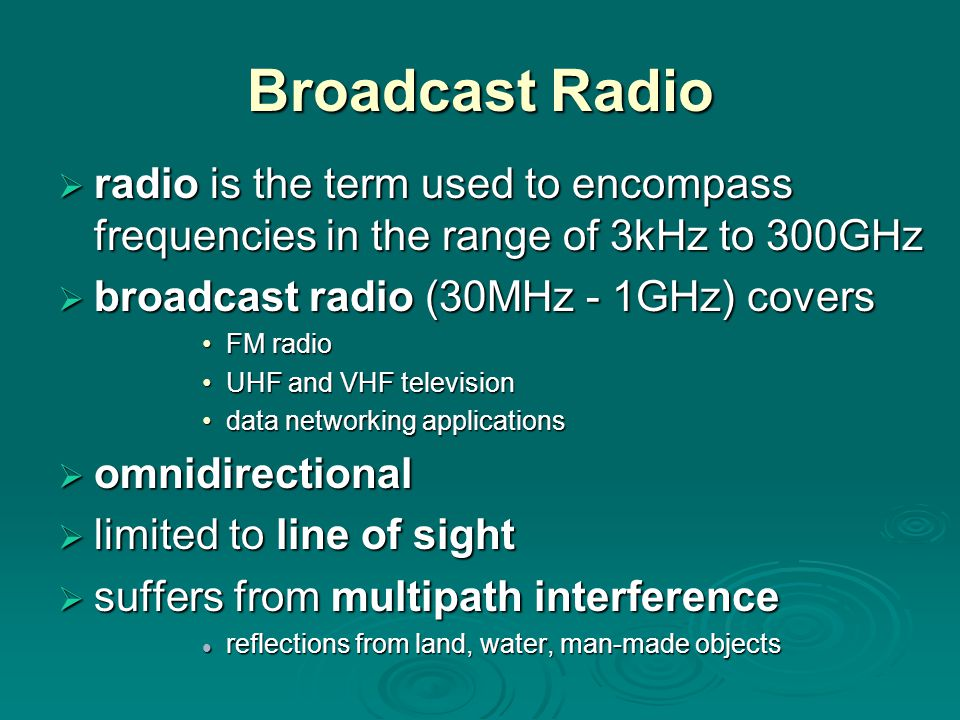 Broadcast Radio radio is the term used to encompass frequencies in the range of 3kHz to 300GHz. broadcast radio (30MHz - 1GHz) covers.