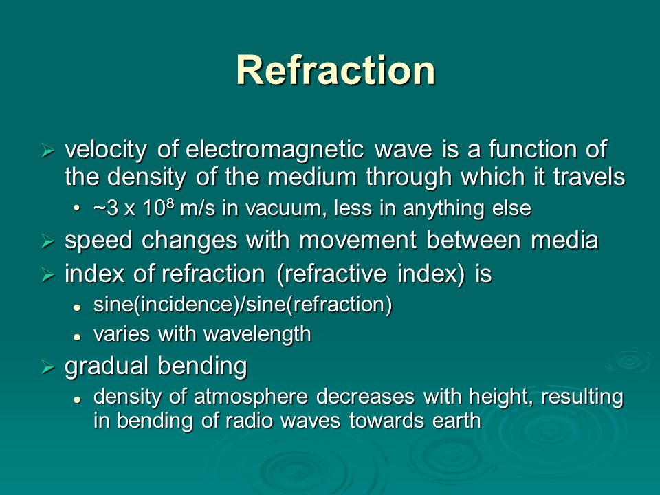 Refraction velocity of electromagnetic wave is a function of the density of the medium through which it travels.