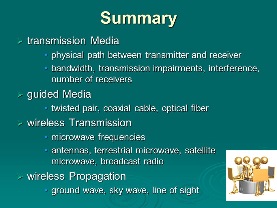 Summary transmission Media guided Media wireless Transmission