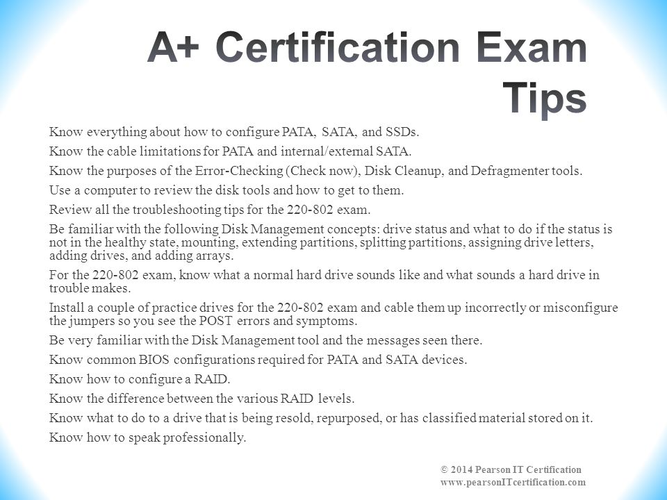 A+ Certification Exam Tips