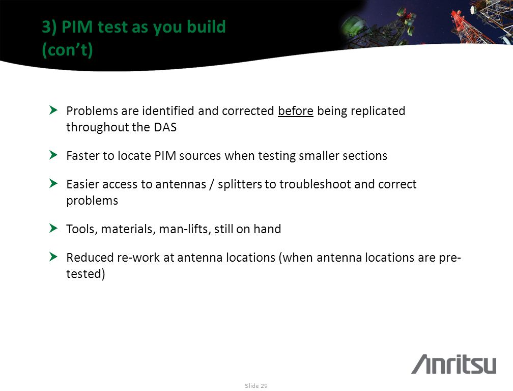 3) PIM test as you build (con't)