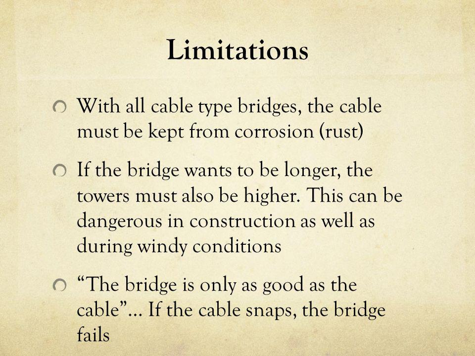 Limitations With all cable type bridges, the cable must be kept from corrosion (rust)