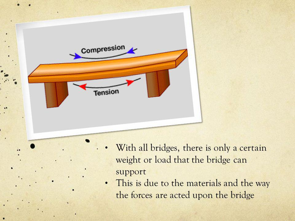With all bridges, there is only a certain weight or load that the bridge can support