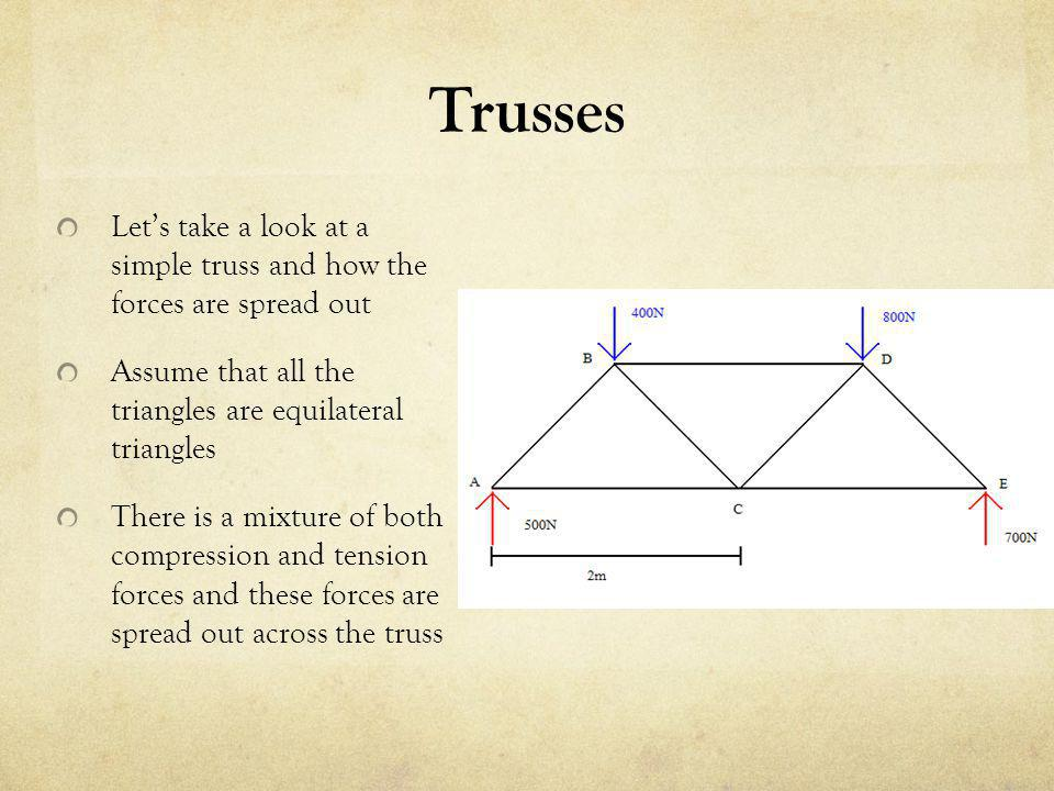 Trusses Let's take a look at a simple truss and how the forces are spread out. Assume that all the triangles are equilateral triangles.
