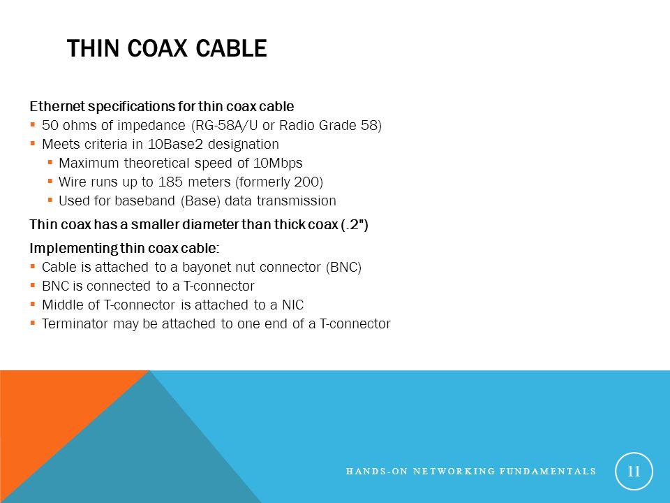 Thin Coax Cable Ethernet specifications for thin coax cable