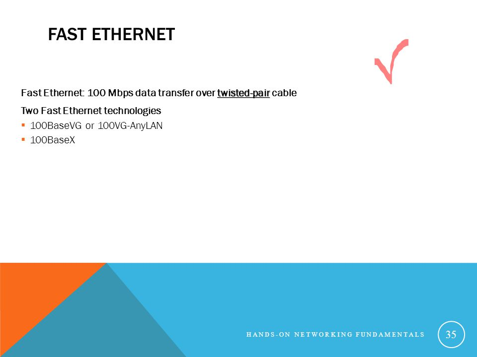 Fast Ethernet Fast Ethernet: 100 Mbps data transfer over twisted-pair cable. Two Fast Ethernet technologies.