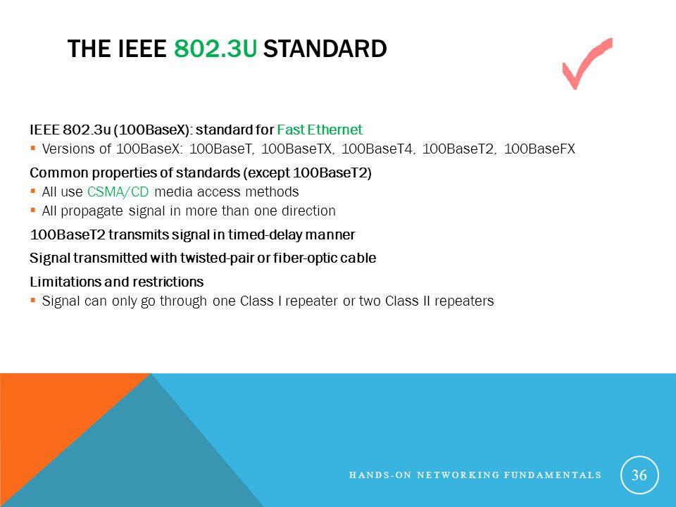 The IEEE 802.3u Standard IEEE 802.3u (100BaseX): standard for Fast Ethernet.