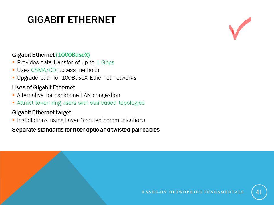 Gigabit Ethernet Gigabit Ethernet (1000BaseX)