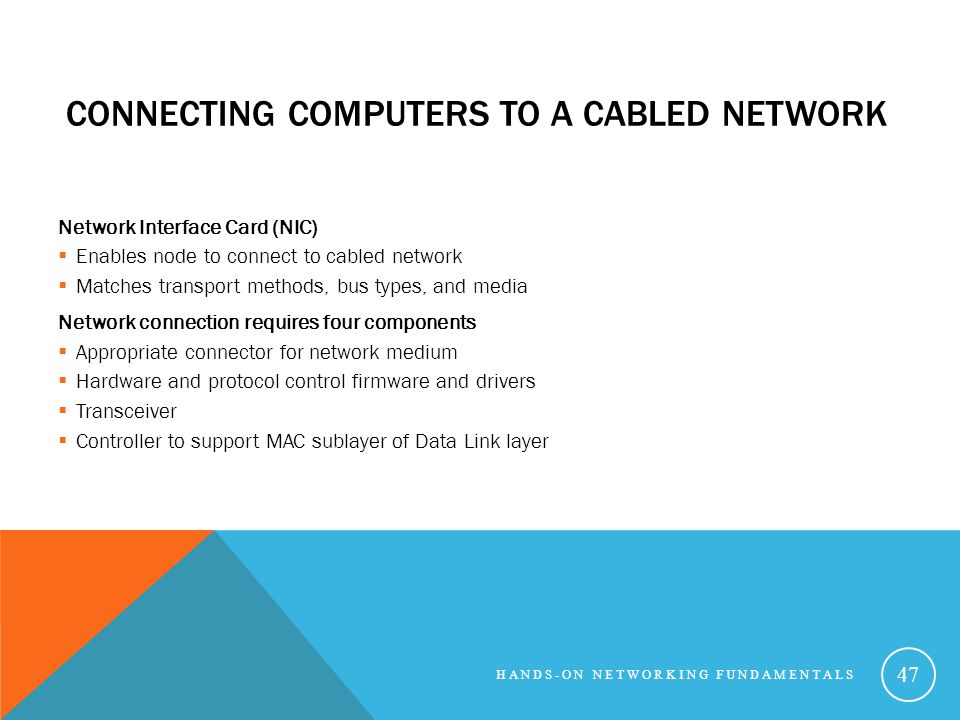 Connecting Computers to a Cabled Network