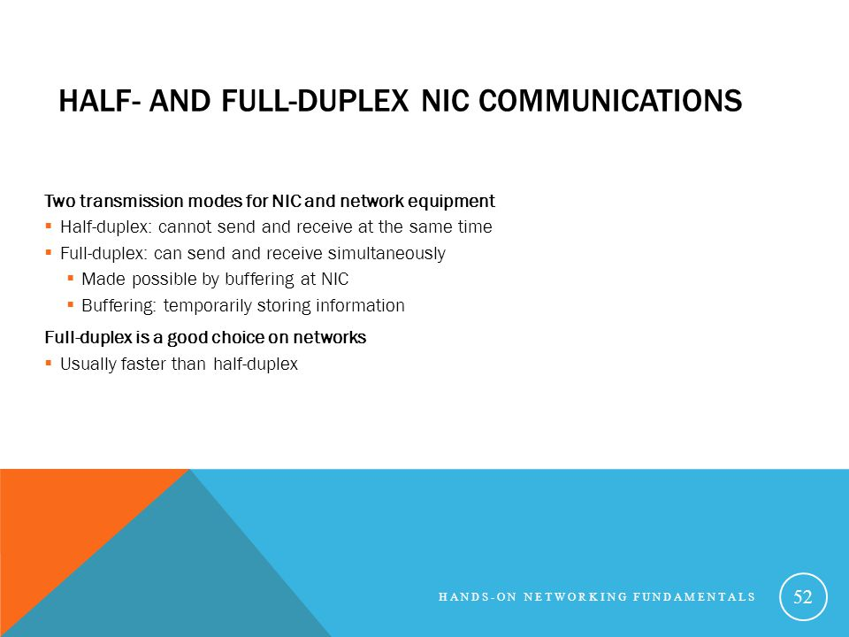 Half- and Full-Duplex NIC Communications