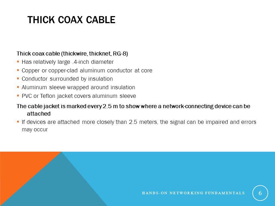 Thick Coax Cable Thick coax cable (thickwire, thicknet, RG-8)