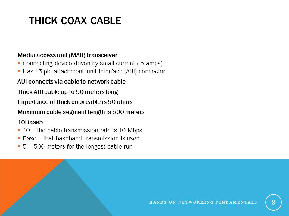 Thick Coax Cable Media access unit (MAU) transceiver