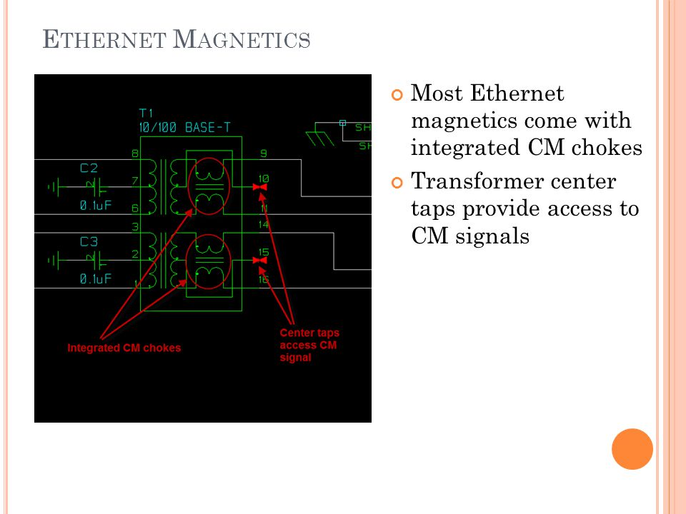 Ethernet Magnetics Most Ethernet magnetics come with integrated CM chokes.