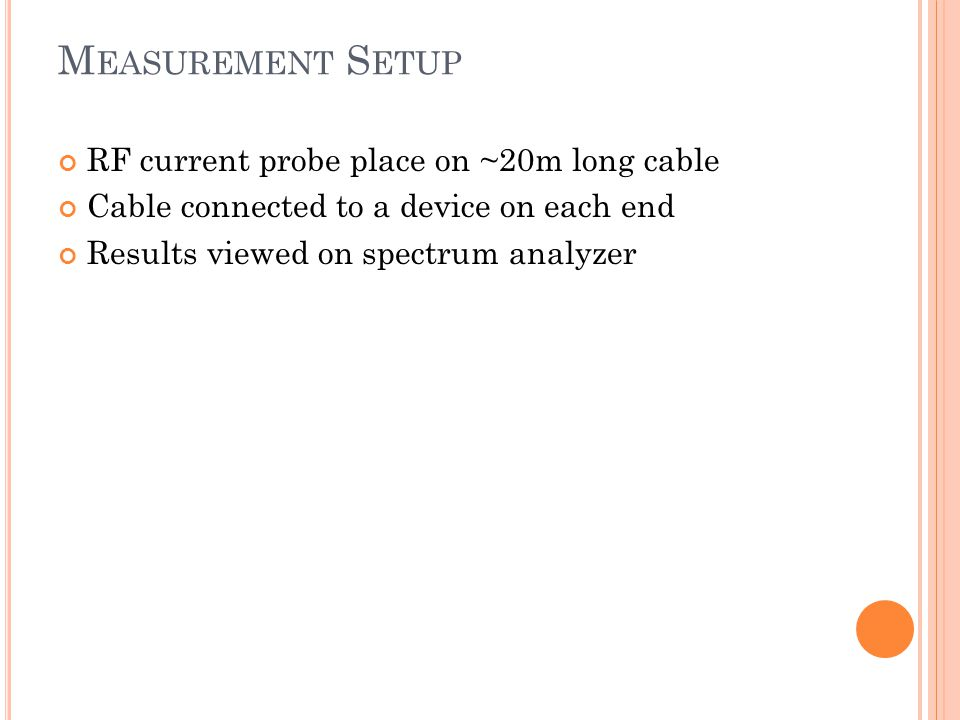 Measurement Setup RF current probe place on ~20m long cable