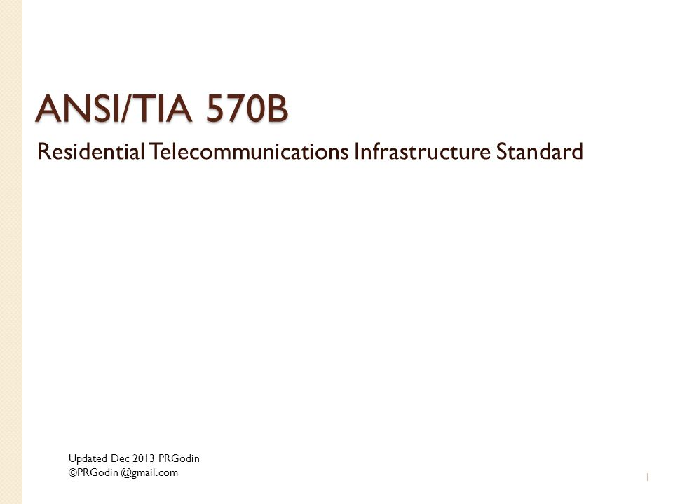 Residential Telecommunications Infrastructure Standard