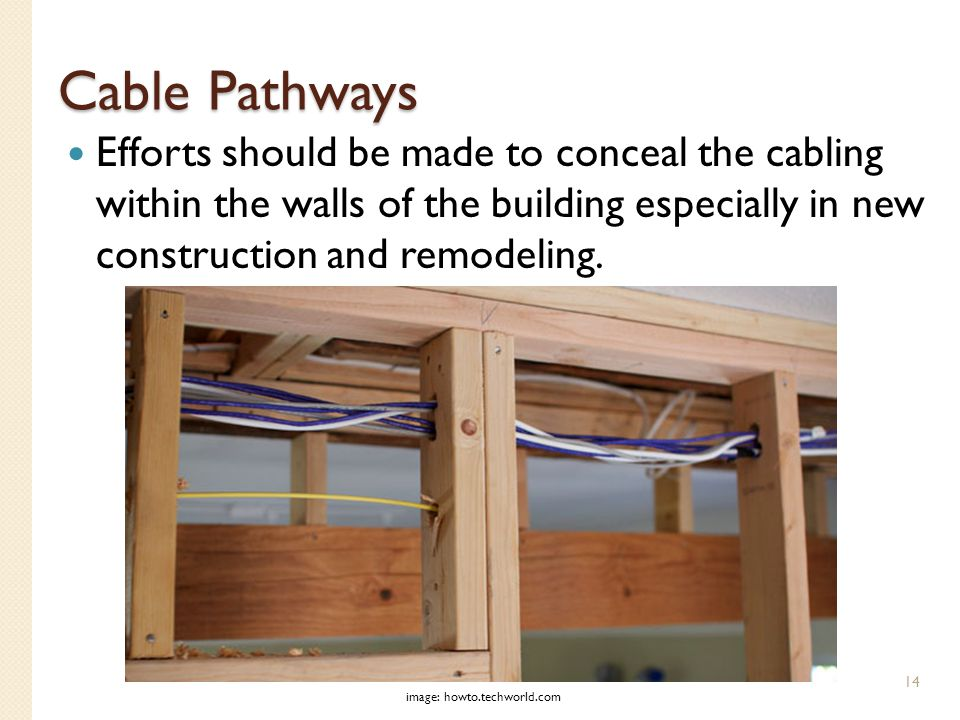 Cable Pathways Efforts should be made to conceal the cabling within the walls of the building especially in new construction and remodeling.