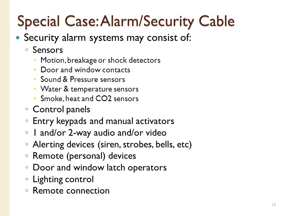 Special Case: Alarm/Security Cable