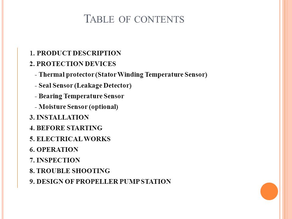 Table of contents 2. PROTECTION DEVICES