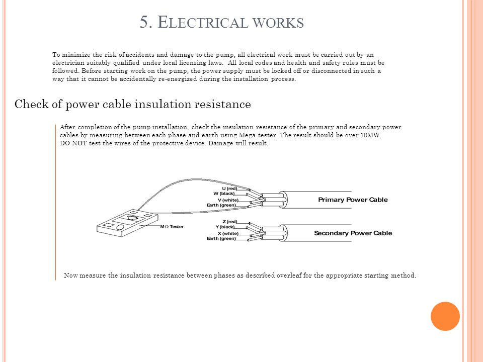 5. Electrical works Check of power cable insulation resistance