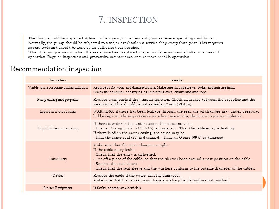 7. inspection Recommendation inspection