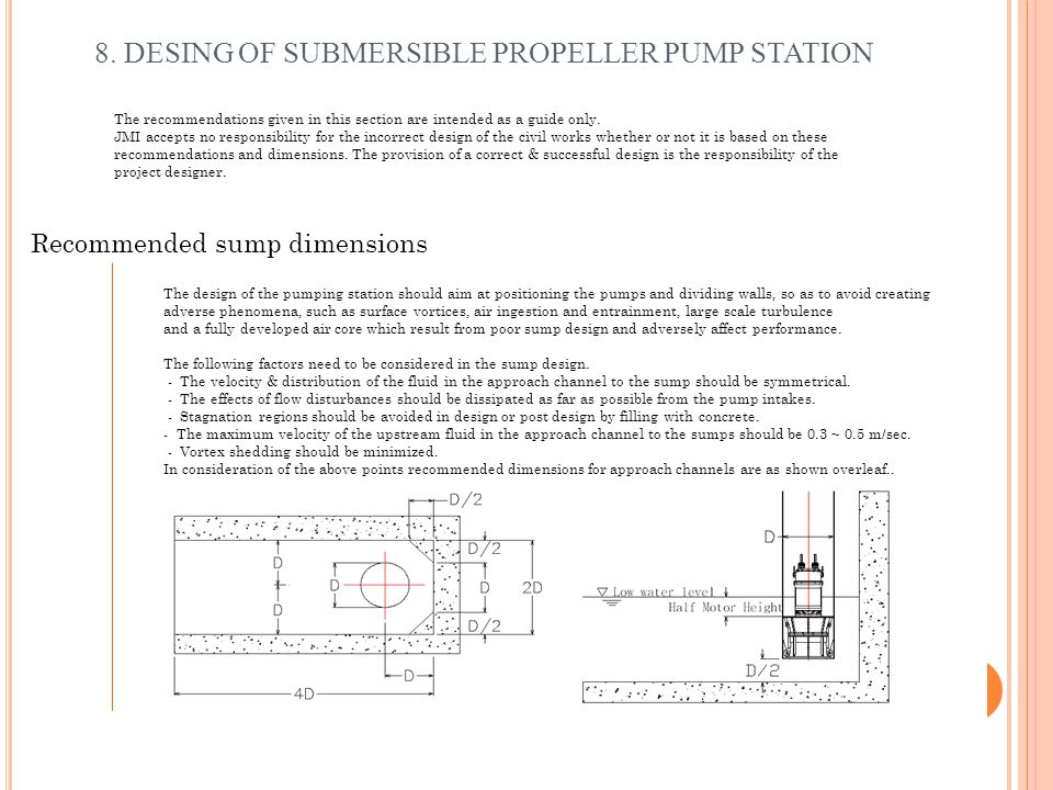 8. DESING OF SUBMERSIBLE PROPELLER PUMP STATION