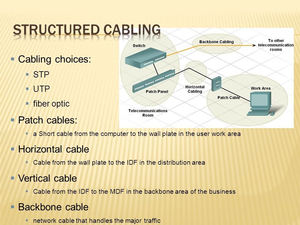 Structured cabling Cabling choices: Patch cables: Horizontal cable