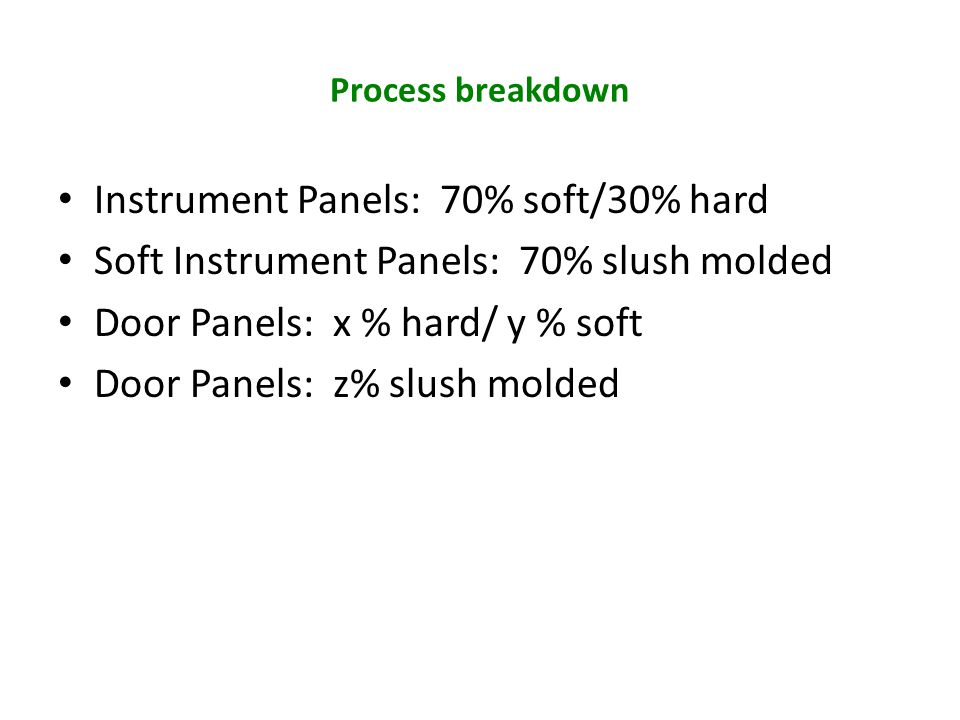 Instrument Panels: 70% soft/30% hard