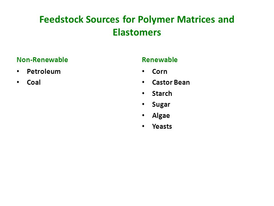 Feedstock Sources for Polymer Matrices and Elastomers