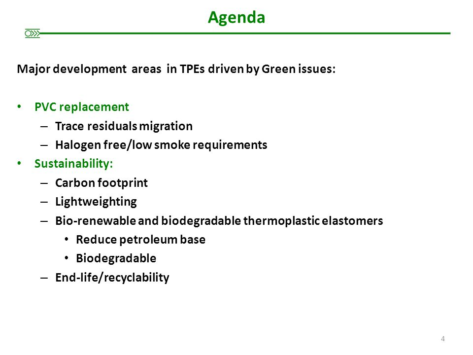 Agenda Major development areas in TPEs driven by Green issues: