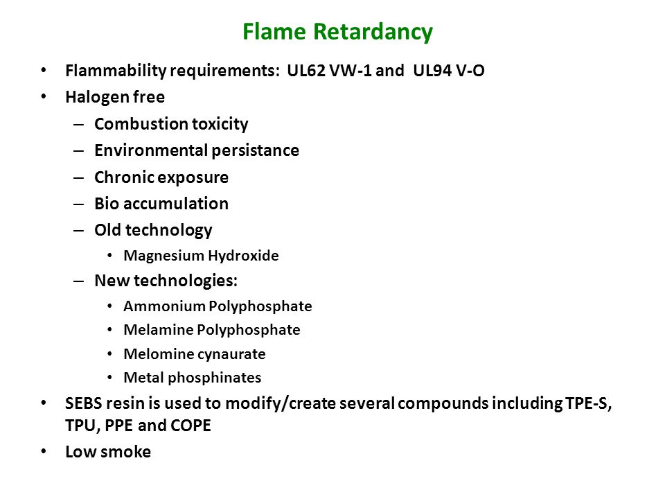 Flame Retardancy Flammability requirements: UL62 VW-1 and UL94 V-O