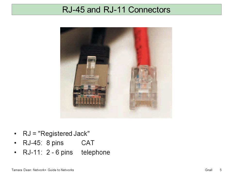 RJ-45 and RJ-11 Connectors RJ = Registered Jack RJ-45: 8 pins CAT