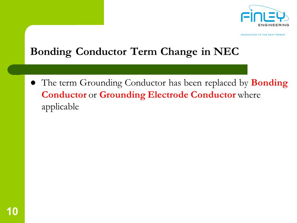 Bonding Conductor Term Change in NEC