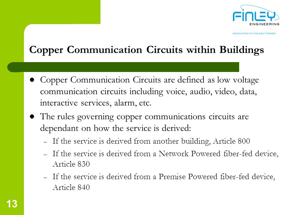 Copper Communication Circuits within Buildings