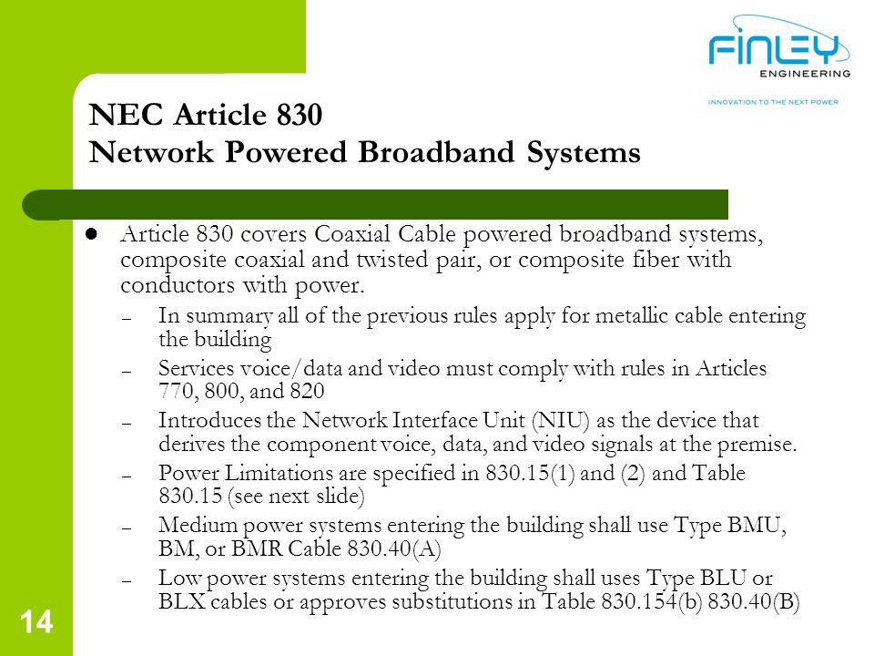 NEC Article 830 Network Powered Broadband Systems