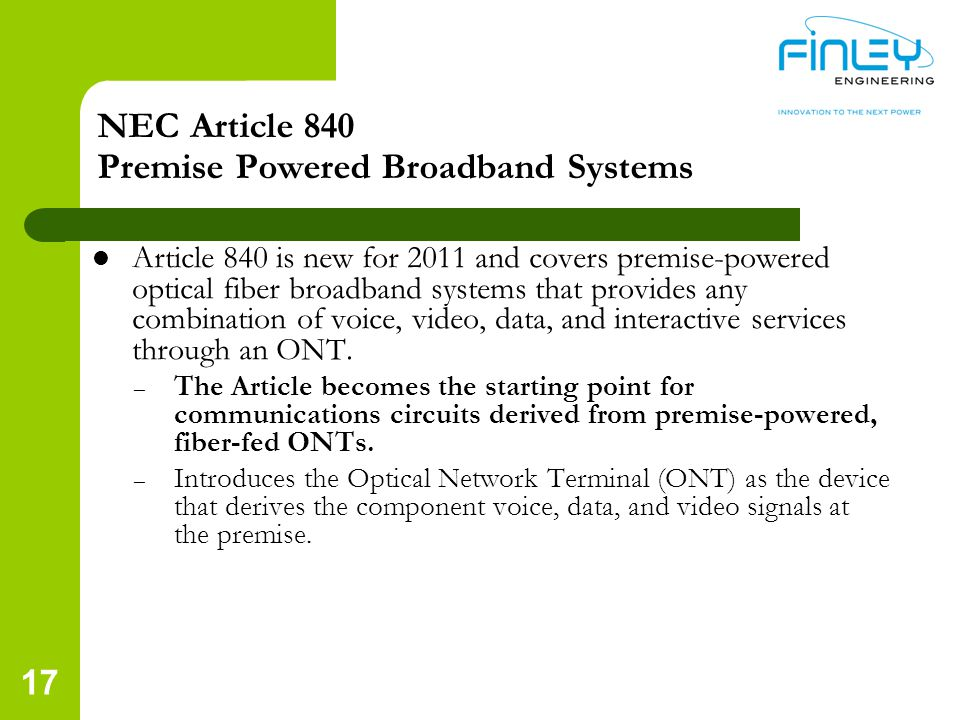 NEC Article 840 Premise Powered Broadband Systems
