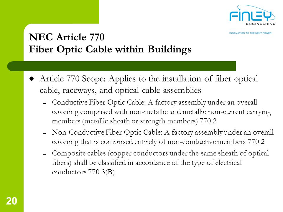 NEC Article 770 Fiber Optic Cable within Buildings