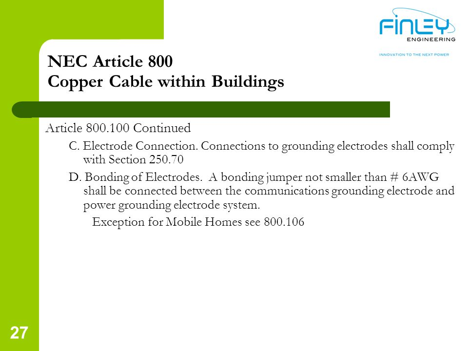 NEC Article 800 Copper Cable within Buildings