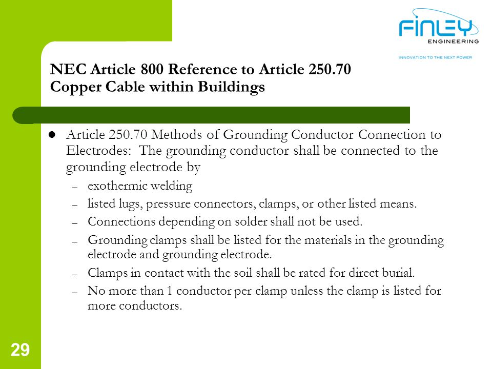 NEC Article 800 Reference to Article 250