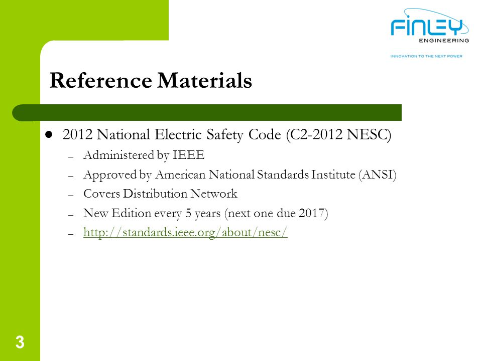 Reference Materials 2012 National Electric Safety Code (C2-2012 NESC)