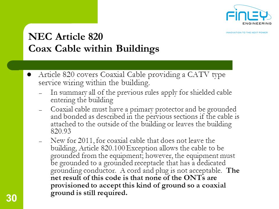 NEC Article 820 Coax Cable within Buildings