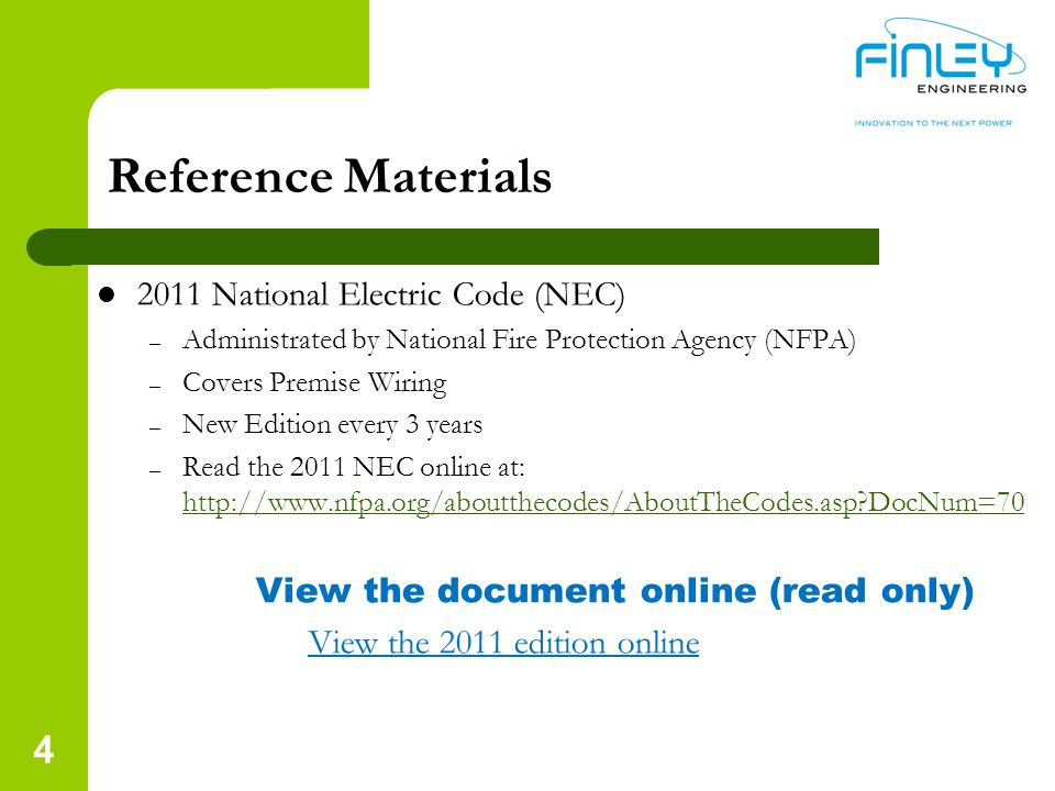 Reference Materials 2011 National Electric Code (NEC)