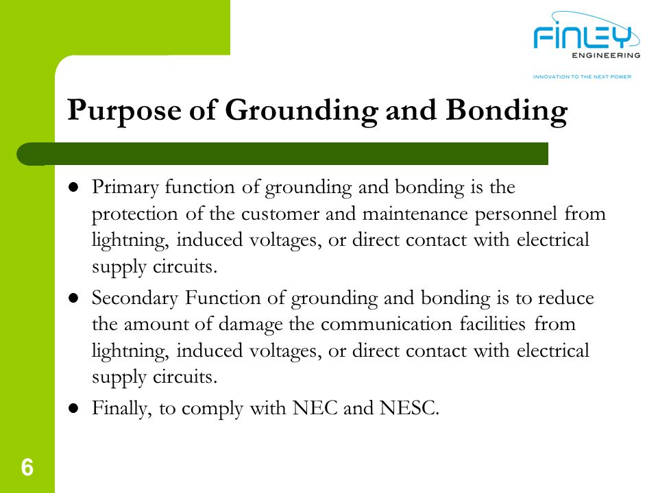 Purpose of Grounding and Bonding