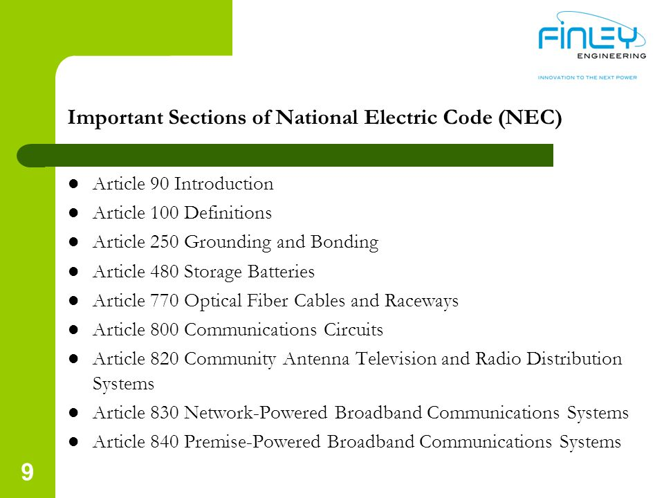 Important Sections of National Electric Code (NEC)