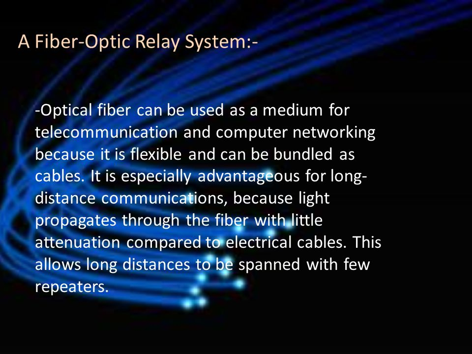 A Fiber-Optic Relay System:-
